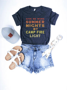 Summer nights tee Short sleeve summer tee Bella Canvas 3001 heather navy
