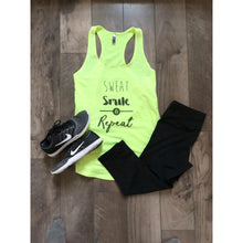 Sweat Smile Repeat neon yellow tank Fitness tank Costa Threads