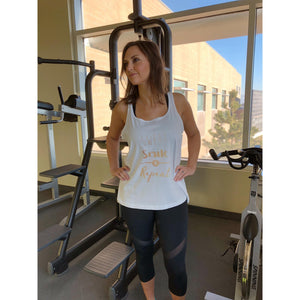 Sweat Smile Repeat white tank Fitness tank Costa Threads