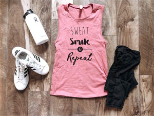 Sweat smile repeat women's muscle tank Fitness tank Bella canvas 6003 mauve