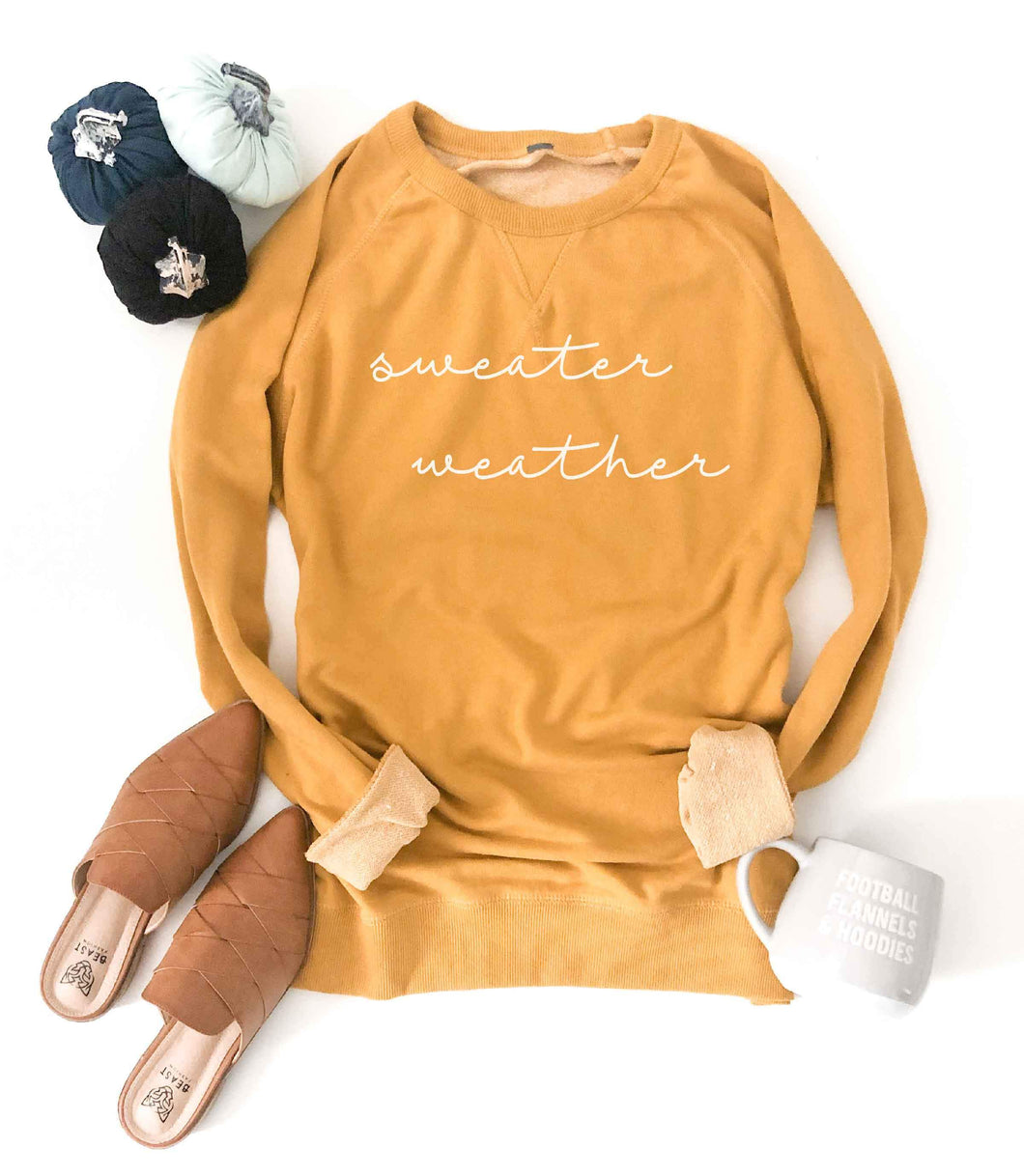 Sweater weather french terry raglan-several color options Fall French Terry raglan Lane seven French Terry raglan XS Mustard