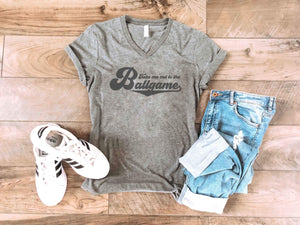 Take me out to the ballgame tee Short sleeve baseball tee Bella Canvas 3005 deep heather