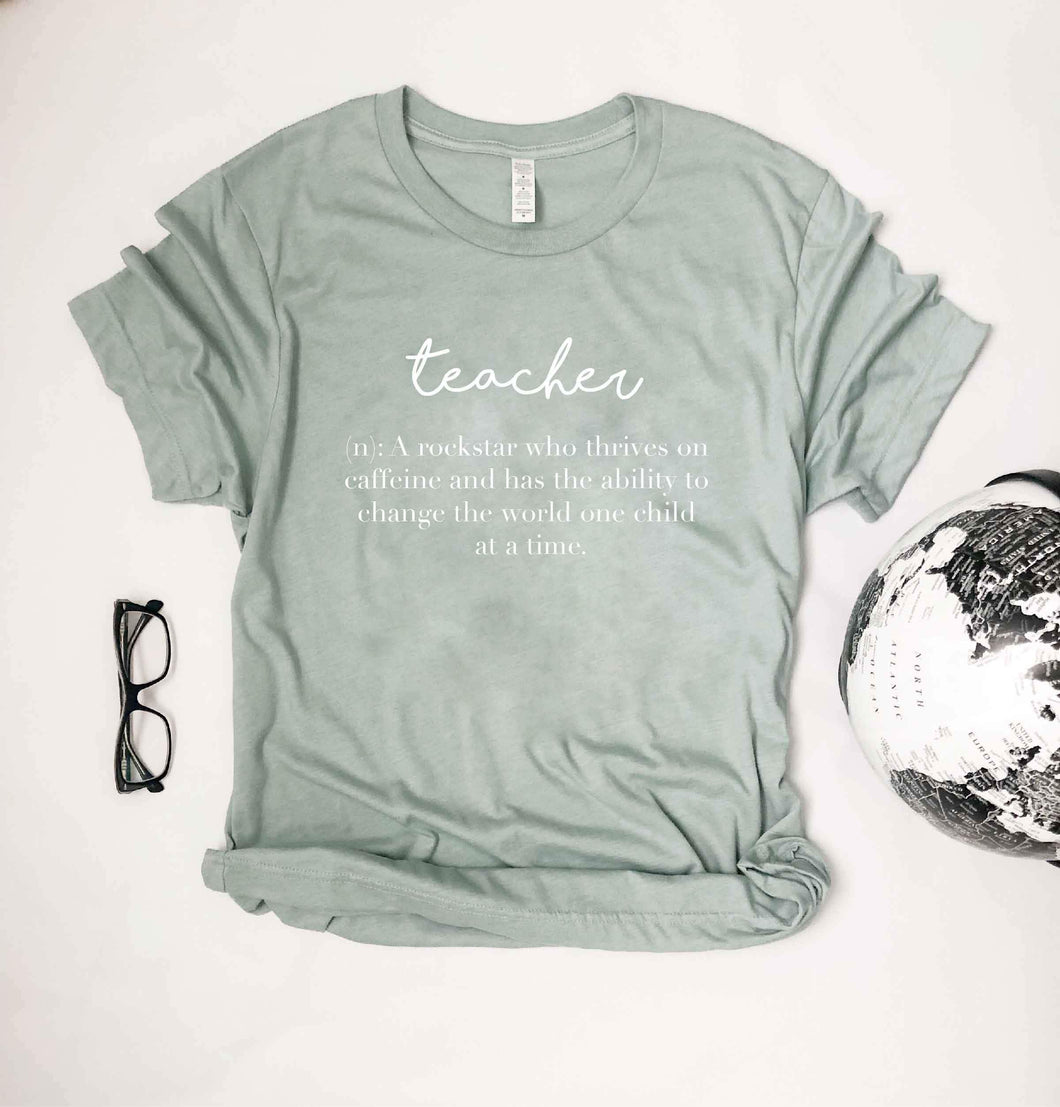 Teacher definition Short sleeve teacher tee Bella Canvas 3001 heather mauve XS Heather Dusty Blue
