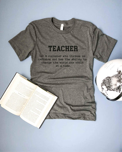 Teacher definiton mens tee Short sleeve mens teacher tee Bella Canvas 3001 deep heather