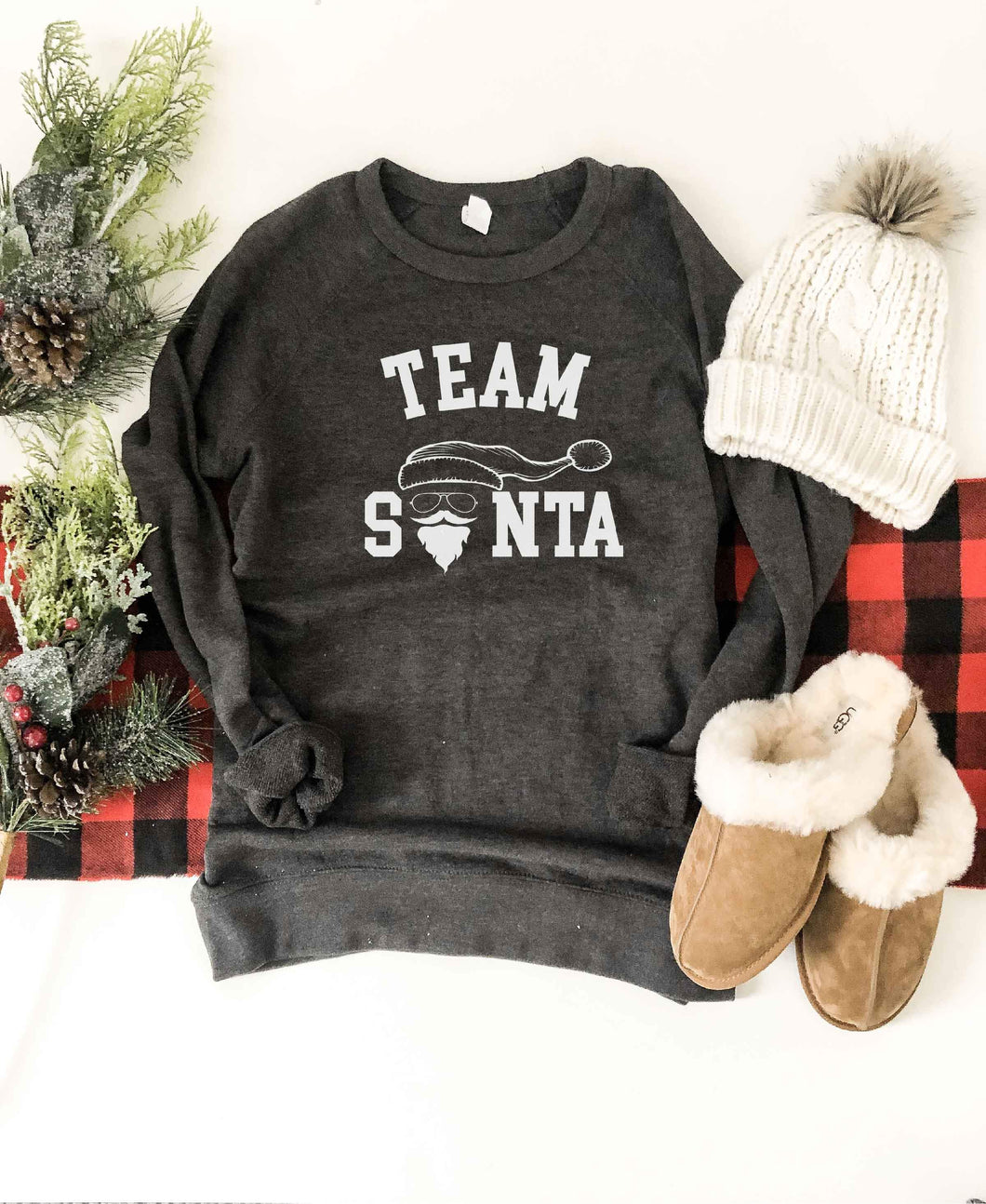 Team Santa french terry raglan sweatshirt Holiday French Terry raglan Lane seven French Terry raglan