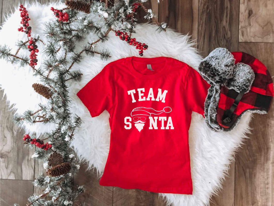 Team Santa kids tee Kids short sleeve holiday tee Next level 3310 red