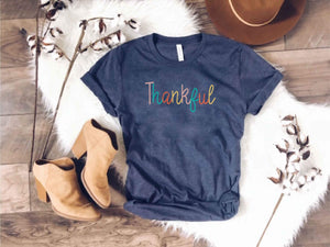 Thankful tee Short sleeve fall tee Bella Canvas 3001 heather navy