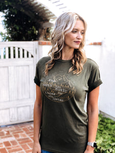 The earth has music tee Short sleeve nature tee Lane Seven vintage tee olive green