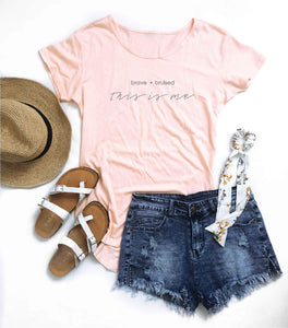 This is me women's scoop bottom tee Short sleeve inspirational tee Cotton heritage womens modal scoop bottom