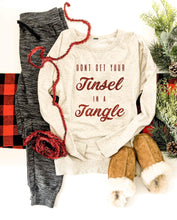 Tinsel in a tangle french terry raglan sweatshirt Holiday sweatshirt Cotton heritage and lane seven French Terry raglan