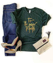 Tis the season to sparkle tee Short sleeve holiday tee Bella Canvas 3001 XS Heather emerald