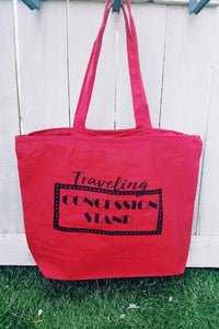 Traveling concession stand tote bag-large size Tote bag Heavy canvas tote bag- natural/black- medium Red