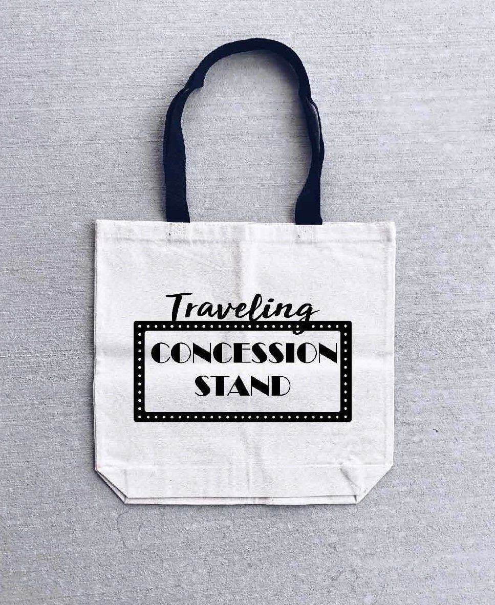 Traveling concession stand tote bag- medium size Tote bag Heavy canvas tote bag- natural/black- medium