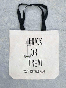 Trick or treat tote bag- customizable! Tote bag Costa Threads Trick or treat bag w/boutique name