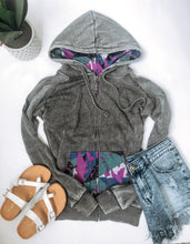 Vintage Grey multi zip-up hoodie Zip up womens hoodie MV Sport grey multi zip up hoodie