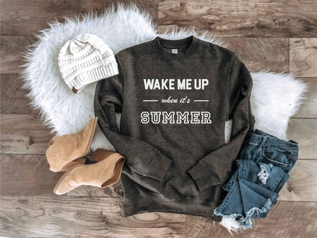 Wake me up when its summer sweatshirt Miscellaneous sweatshirt Lane seven unisex sweatshirt charcoal