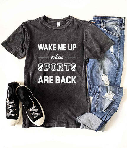 Wake me up when sports are back vintage wash tee Short sleeve sports tee Bella Canvas 3001
