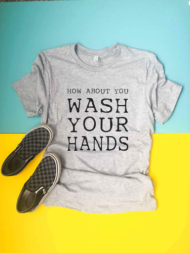 Wash your hands kids tee Short sleeve inspirational tee Next Level 6210 Heather Grey