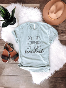We are healed tee Short sleeve miscellaneous tee Bella Canvas 3001 Ice Blue