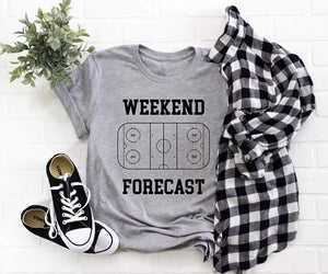Weekend Forecast hockey tee Short sleeve hockey tee Bella canvas and Next Level