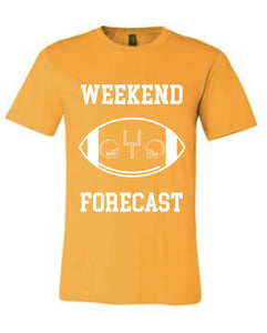 Weekend Forecast Short sleeve football tee Bella canvas and Next Level S Gold