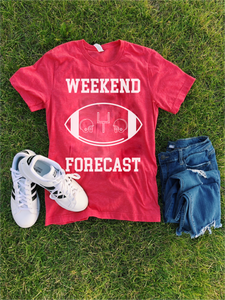 Weekend Forecast Short sleeve football tee Bella canvas and Next Level S Heather red
