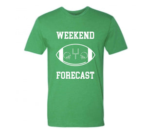 Weekend Forecast Short sleeve football tee Bella canvas and Next Level S Kelly Green
