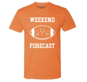 Weekend Forecast Short sleeve football tee Bella canvas and Next Level S Orange