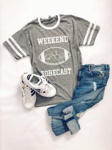 Weekend Forecast varsity tee Short sleeve football tee Jerzees unisex varsity