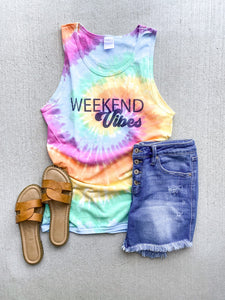 Weekend vibes tie dye tank Tie dye summer tank Port and company tie dye tank