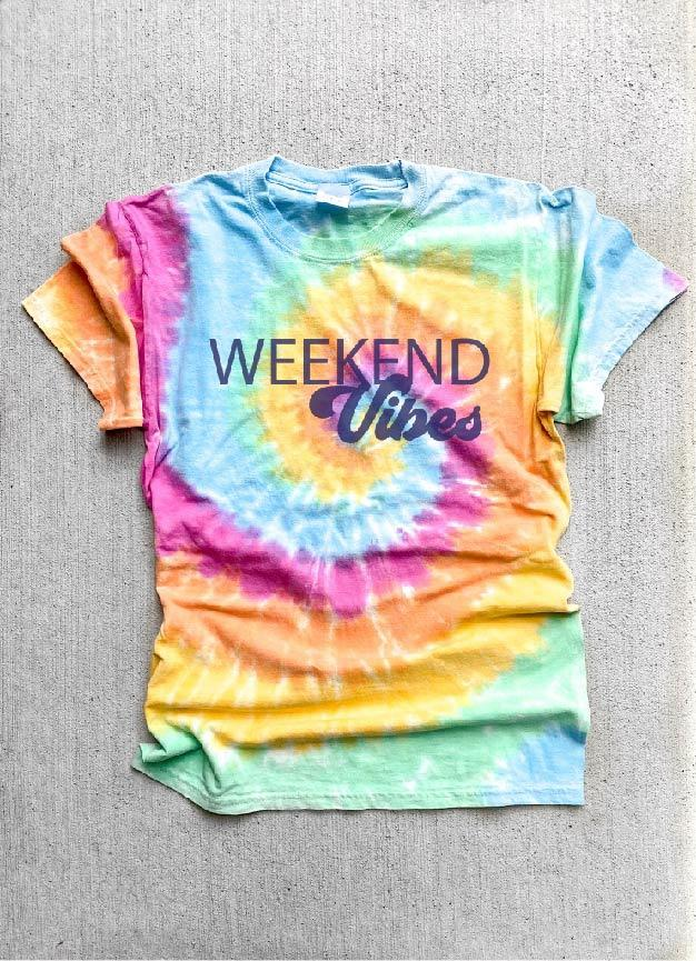 Weekend vibes tie dye tee Tie dye summer tee Port and company tie dye tee