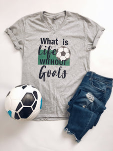 What is life without goals Short sleeve sports tee Next Level 6240 heather grey