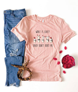 What is love Short sleeve valentines day tee Bella Canvas 3001 heather peach