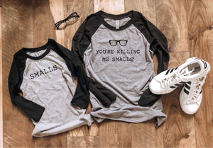 You're killing me smalls baseball tee Long sleeve baseball tee Next Level 6051 baseball tee heather white/heather black S Black/heather grey