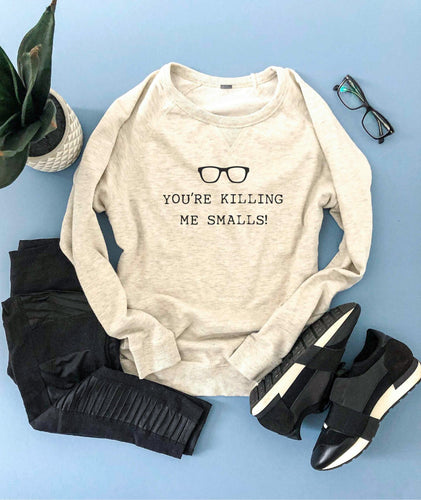 You're killing me smalls french terry raglan Long sleeve baseball tee Next Level 6051 baseball tee heather white/heather black