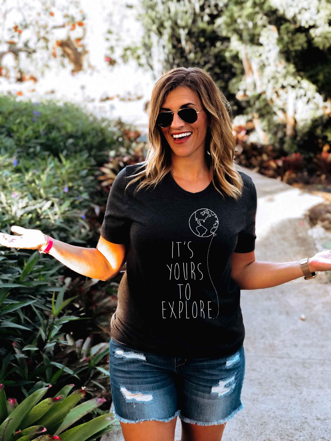 Yours to explore tee Short sleeve miscellaneous tee Bella Canvas 3001 black