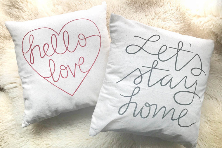 """Hello Love"" & ""Let's Stay Home"" Accent Pillows with Inserts (Set of 2)  for bed or sofa"