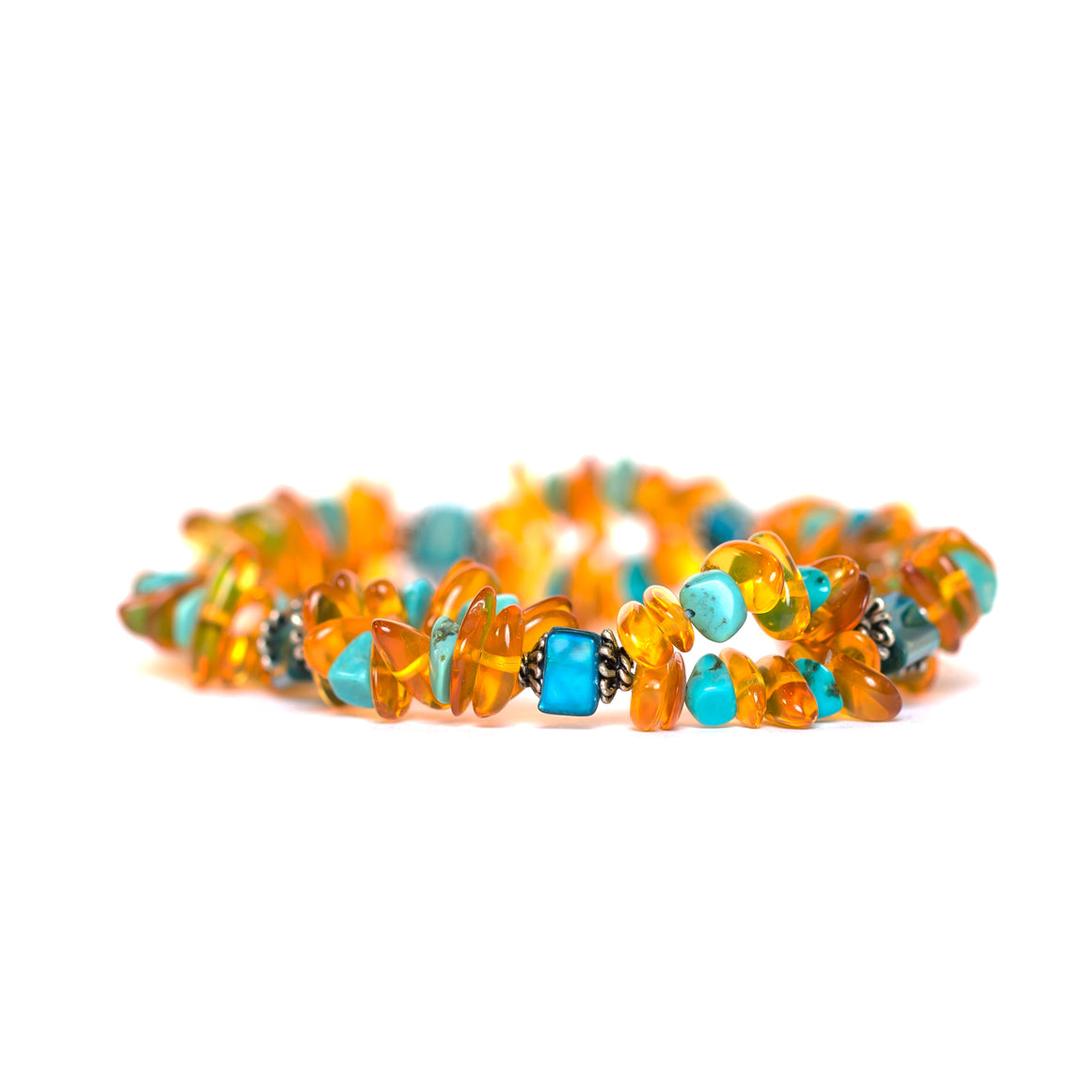 Amber Bracelet (double) with Mixed Turquoise in Jewelry for women