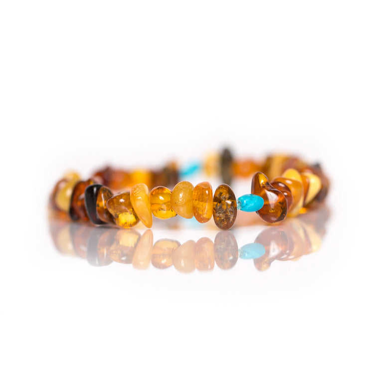 Amber Bracelet with Round Turquoise in Jewelry for women