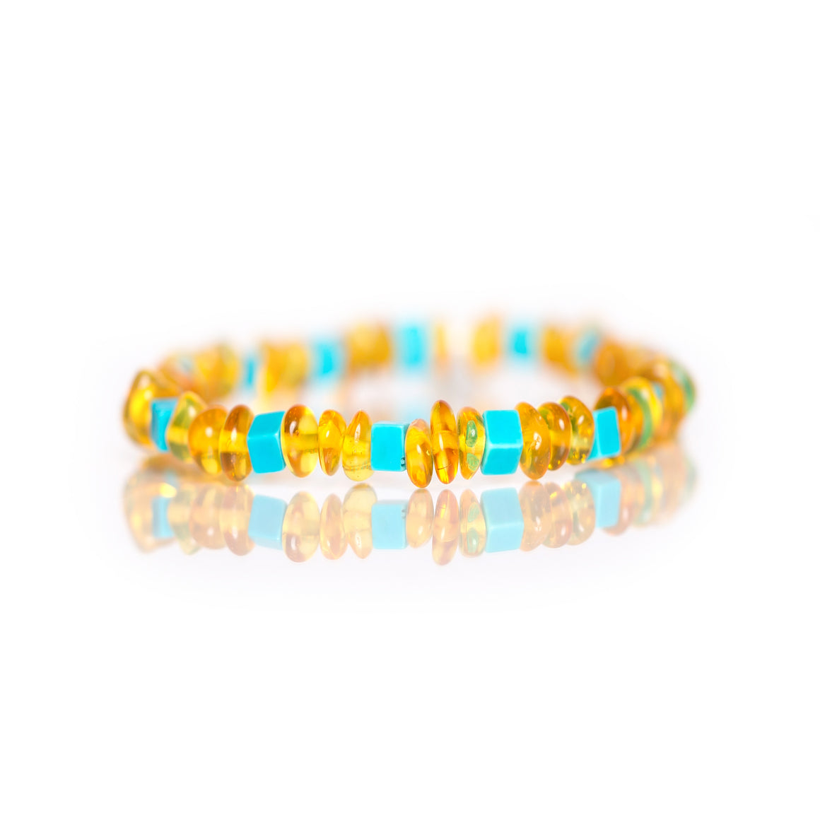 Amber Bracelet with Square Turquoise in Jewelry for women