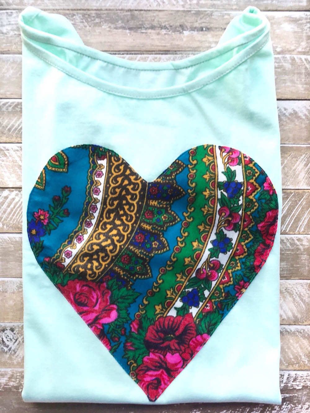 Folk Blouse with Heart (Aqua) in Blouse