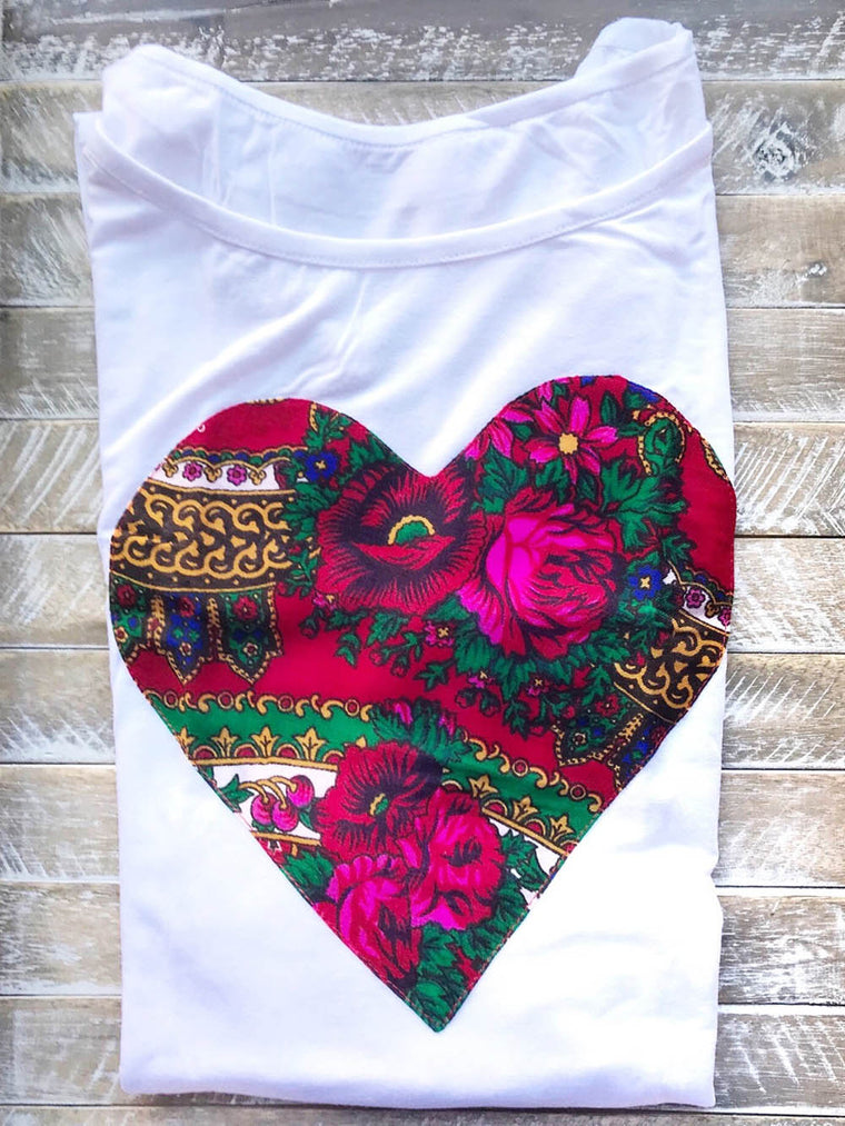 Folk Shirt Blouse with Heart (White) for women