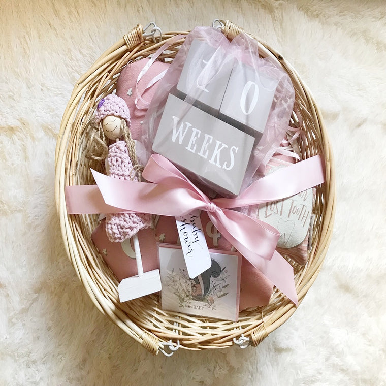 Baby Girl (Pink) Gift Basket w/Small Angel in Handmade Gift Baskets