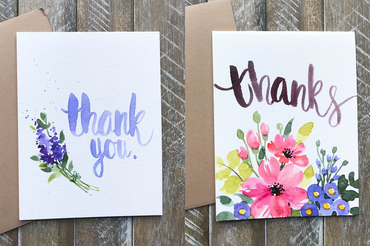 "Hand Painted ""Thank you"" Greeting Cards in Greeting Cards"