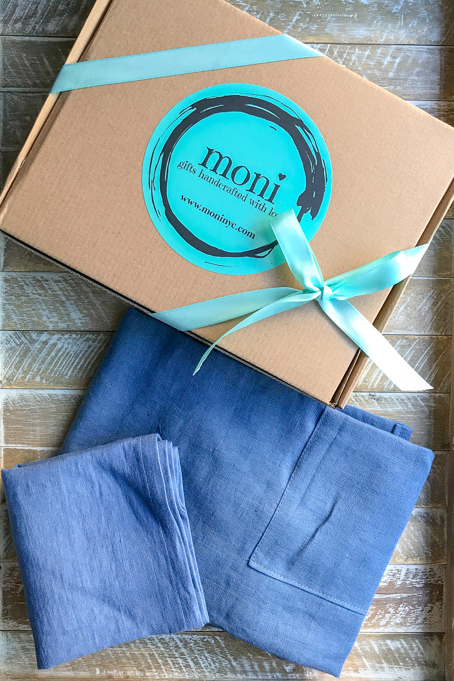 Blue Linen Apron and Complimentary Linen Napkin