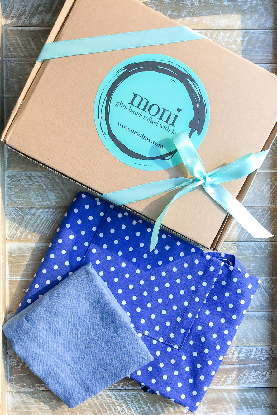Blue w/White Dots Cotton Apron and Complimentary Linen Napkin
