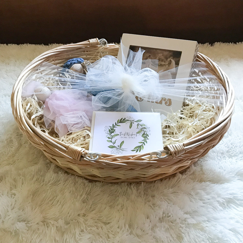 Mr. & Mrs. Wedding Gift Basket in Handmade Gift Baskets