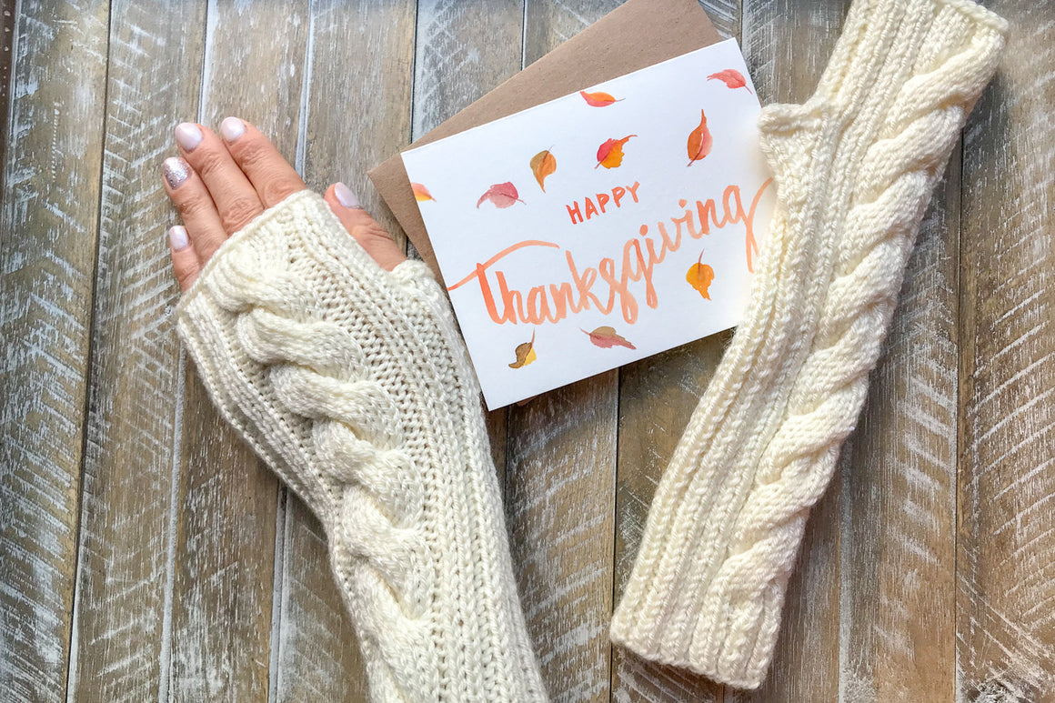 Knitted Fingerless Mittens Design 2 w/Thanksgiving Card