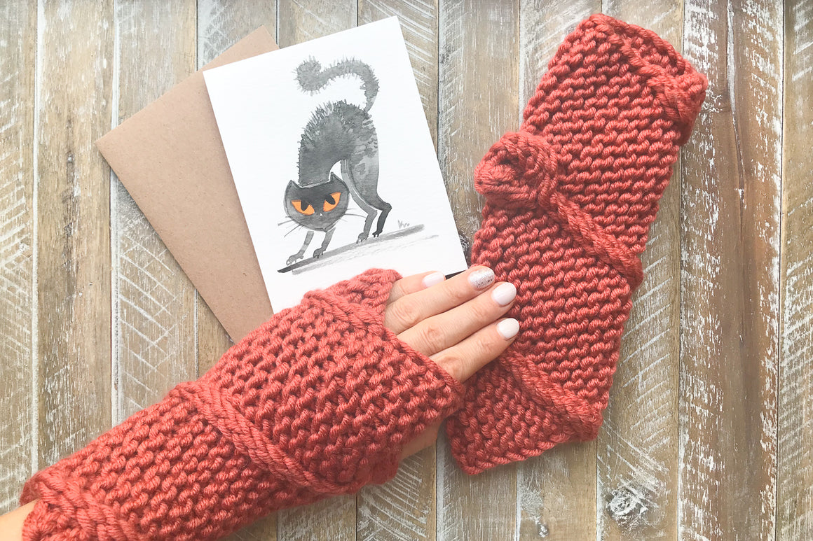Knitted Fingerless Mittens w/Halloween Card in Mittens