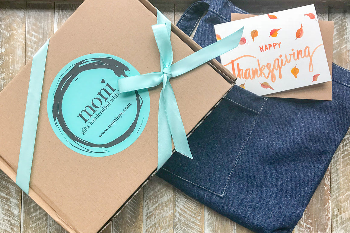 Short Denim Apron w/Thanksgiving Card